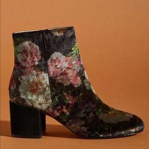 Anthropologie | Printed Velvet Ankle Boots